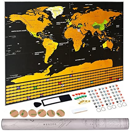 Amazon lifecolor scratch off world map 33x24 large travel lifecolor scratch off world map 33quotx24quot large travel wall size deluxe map poster gumiabroncs Gallery
