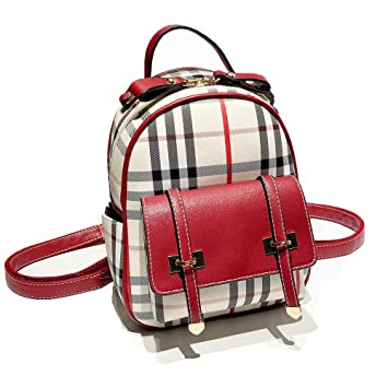fe3fa1158b1a Gashen Women s Mini PU Leather Backpack Purse Casual Drawstring Daypack  Convertible Shoulder Bag (Red Plaid