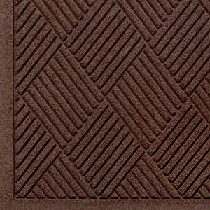 WaterHog Fashion Diamond-Pattern Commercial Grade Entrance Mat, Indoor/Outdoor Medium Brown Floor Mat 5' Length x 3' Width, Dark Brown by M+A Matting