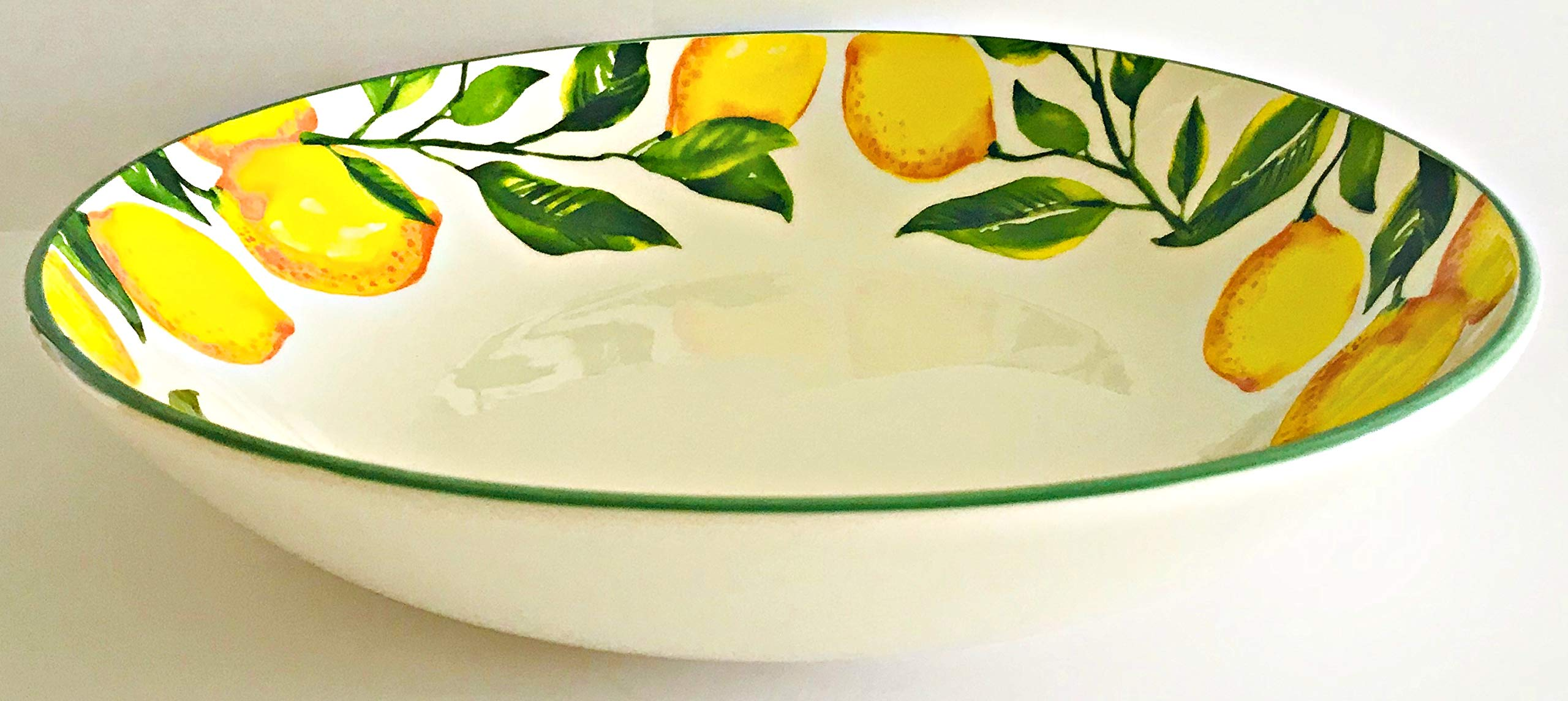 CMG Hand Painted in Portugal | Bright Yellow Lemons and Green Leaves Decorated with A Green Edge White Ceramic Serving | Pasta Bowls (Serving Bowl 11.75 x 2.25 inches)