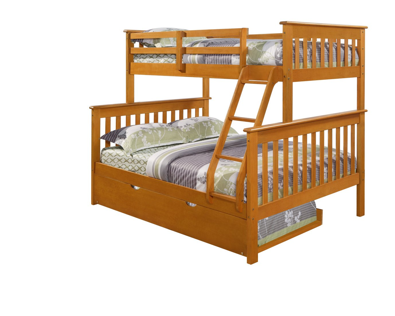 Amazoncom Twin Over Full Mission Bunk Bed Fixed Ladder Honey