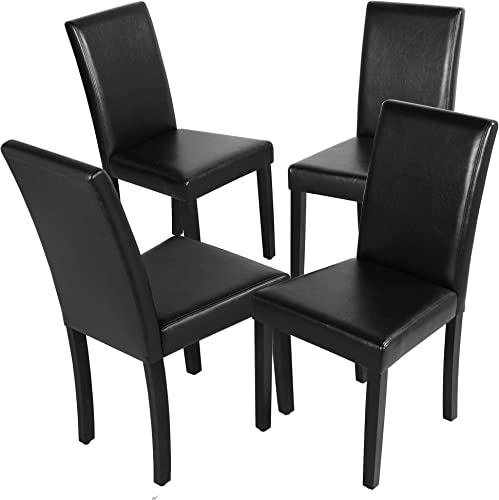 YAHEETECH Dining Chairs Set of 4 Solid Wood Legs Leatherette Padded Cushion Parson Kitchen Chair