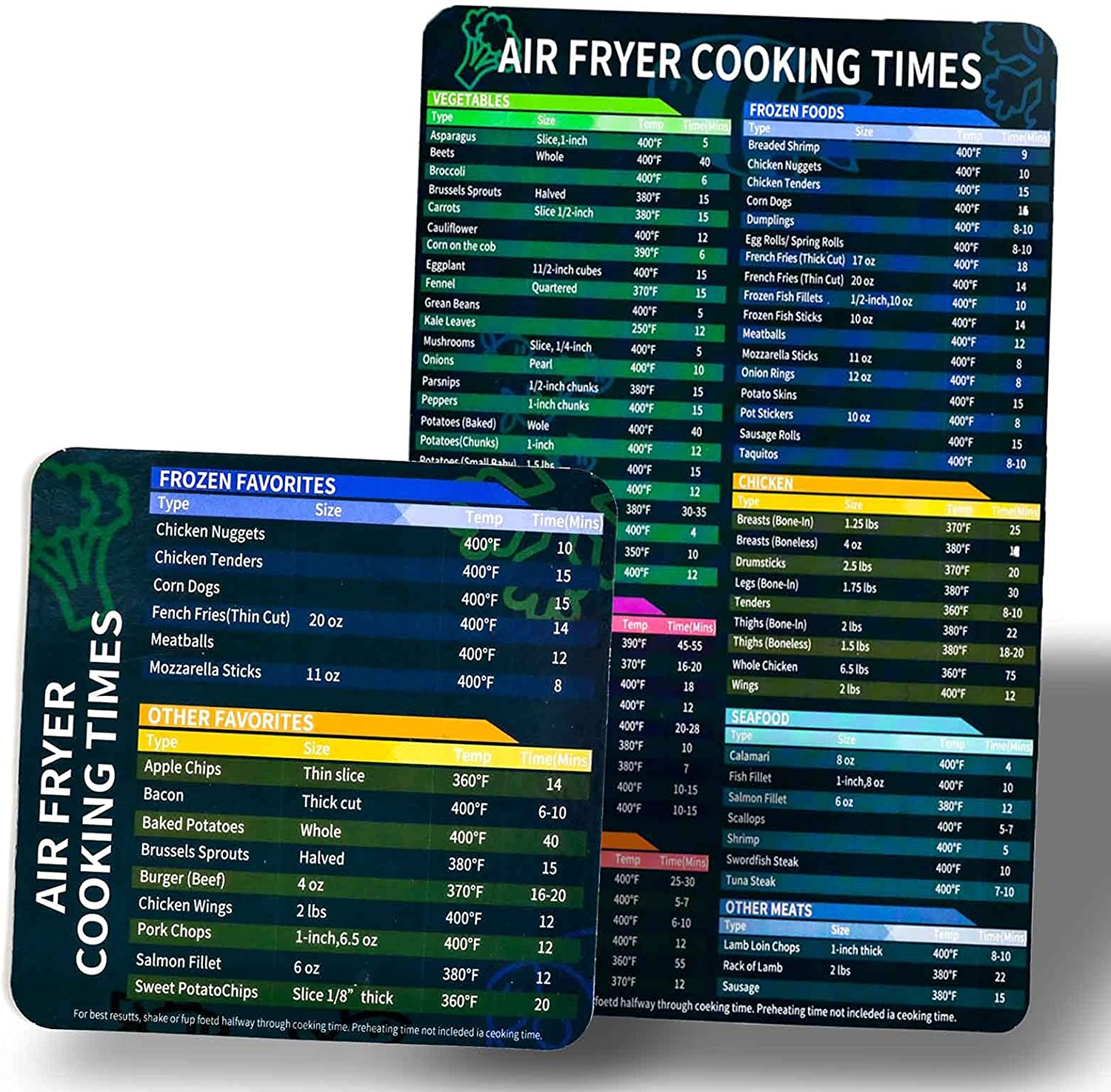 Air Fryer Accessories Cook Times,Air Fryer Magnetic Cheat Sheet Set,Air Fryer Chart Magnet Sheet- Quick Reference Guide for Cooking and Frying (Air Fryer Accessories)