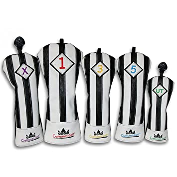 Artesano Golf negro con blanco rayas serie para cabeza de palo de golf driver madera Ut híbrida funda, 5pcs(#1,#3,#5,UT,X Cover)