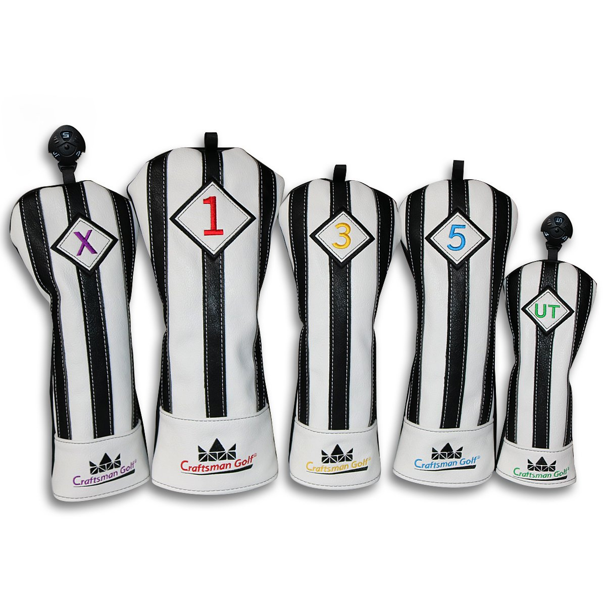 Craftsman Golf Black with White Stripes Series Golf Club Driver Wood UT Hybrid Head Cover Headcover (5pcs(#1,#3,#5,UT,X Cover))