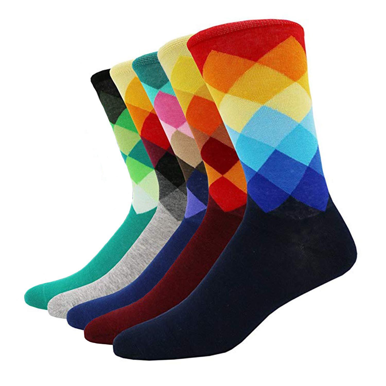 SZSMART 5 paia calzini da uomo donna unisex, Calze casual alla moda, Calze A Strisce Eleganti, Cotone Pettinato, Traspirante, Moda calze colorate, Calze da lavoro