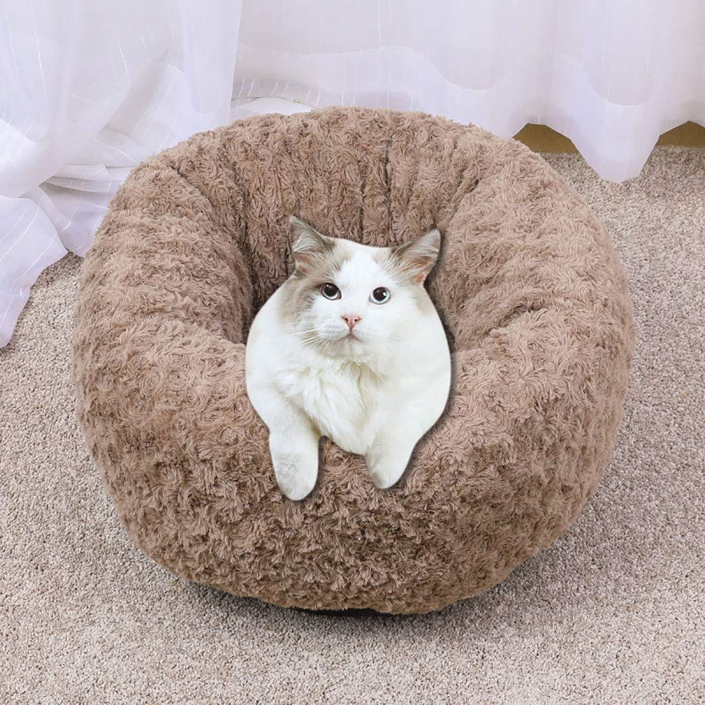 Mosunx Pet Calming Bed for Cat Dog Luxury Faux Fur Pet Bed for Cats Small Dogs Round Donut Cuddler Oval Plush Cozy Self-Warming Cat Bed for Improved Sleep