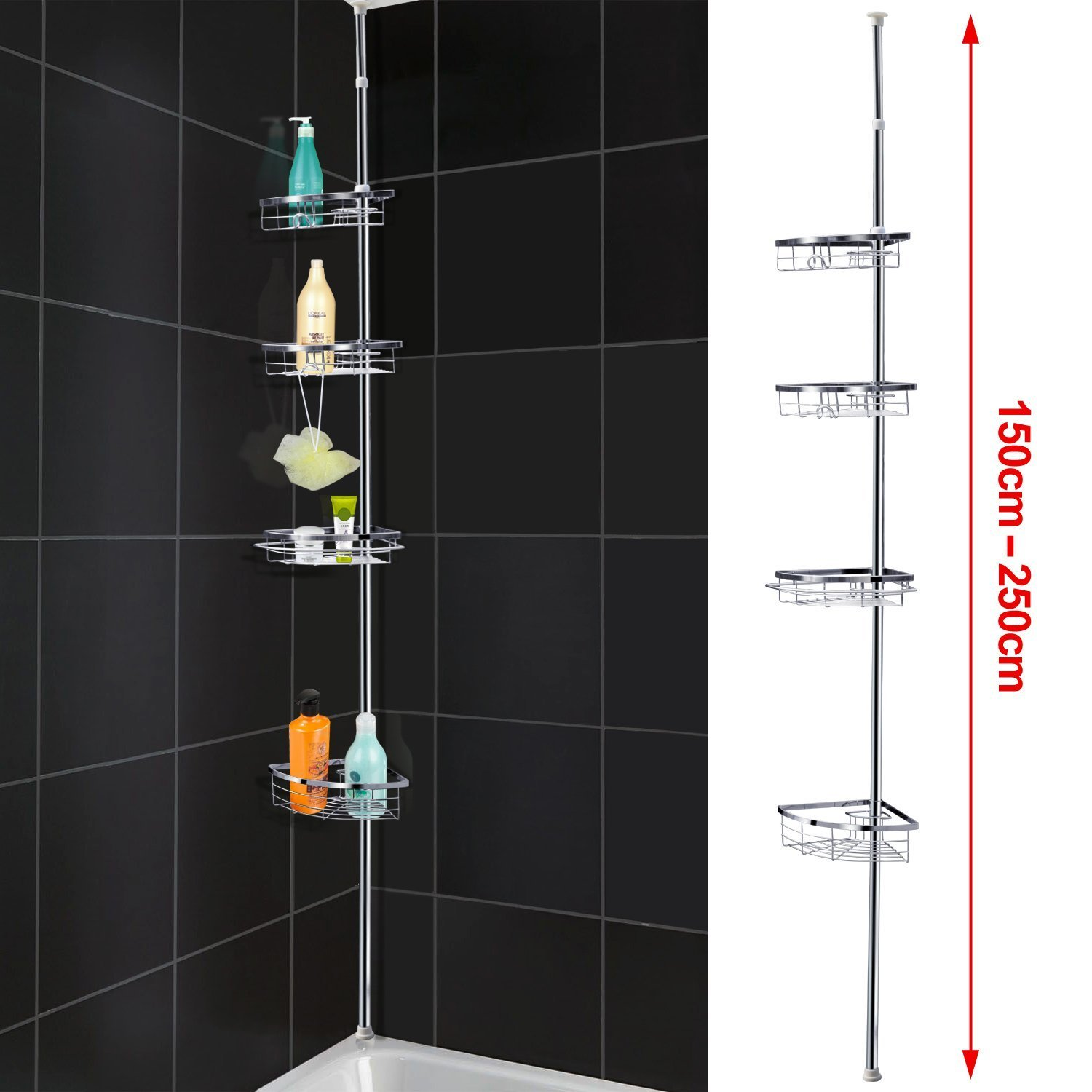 Popamazing Quality Telescopic 4 Tier Bathroom Shower Rack Corner ...