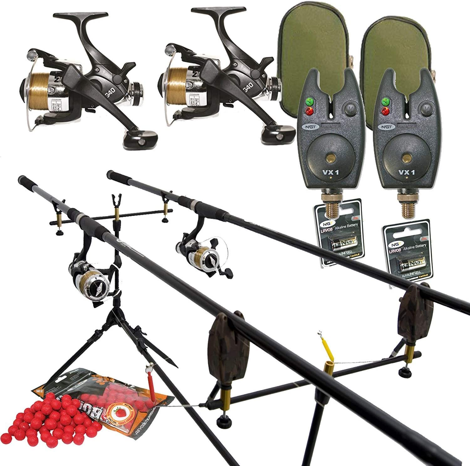Details about Carp Fishing Set 3 Rods 3 Reels 3 Alarms Rod Pod Bait etc