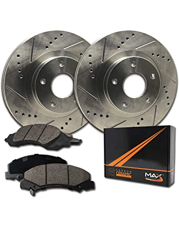 E-Coated Slotted Drilled Rotors + Ceramic Pads Max Brakes Front Elite Brake Kit Fits: 2000 00 2001 01 2002 02 Dodge Dakota 2WD//4WD Models KT026081