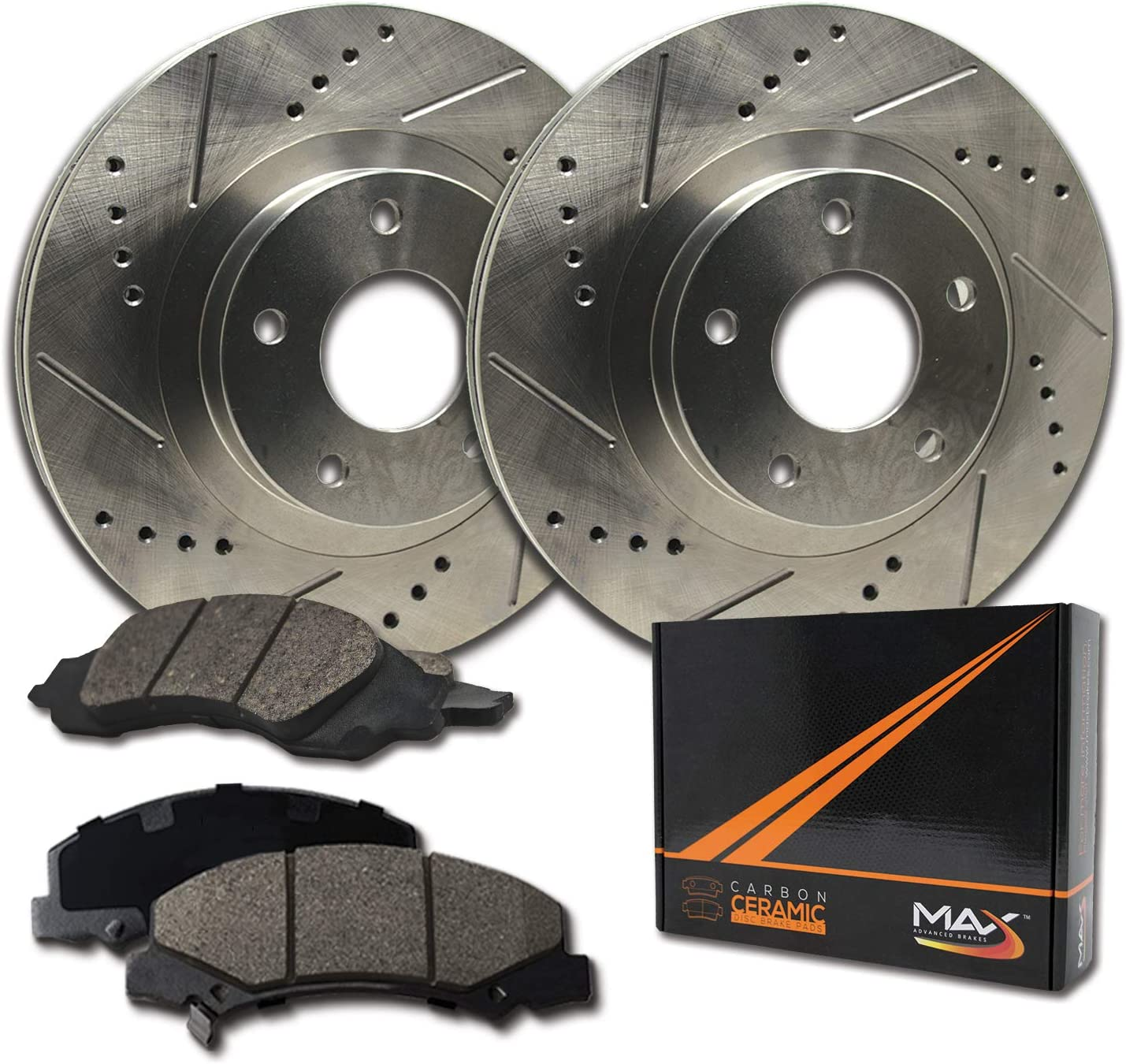 KT020822 Premium Cross Drilled Rotors + Ceramic Pads Fits: 2006 06 2007 07 Dodge Ram 1500 w// 5 Lugs Rotors Max Brakes Rear Performance Brake Kit