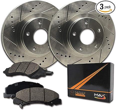 Premium Slotted Drilled Rotors + Ceramic Pads Max Brakes Front Performance Brake Kit KT036631 Fits 2006-2013 Honda Ridgeline