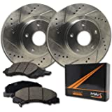 Max Brakes Front Performance Brake Kit [ Premium Slotted Drilled Rotors + Ceramic Pads ] KT053531 | Fits: 2008 08 2009…