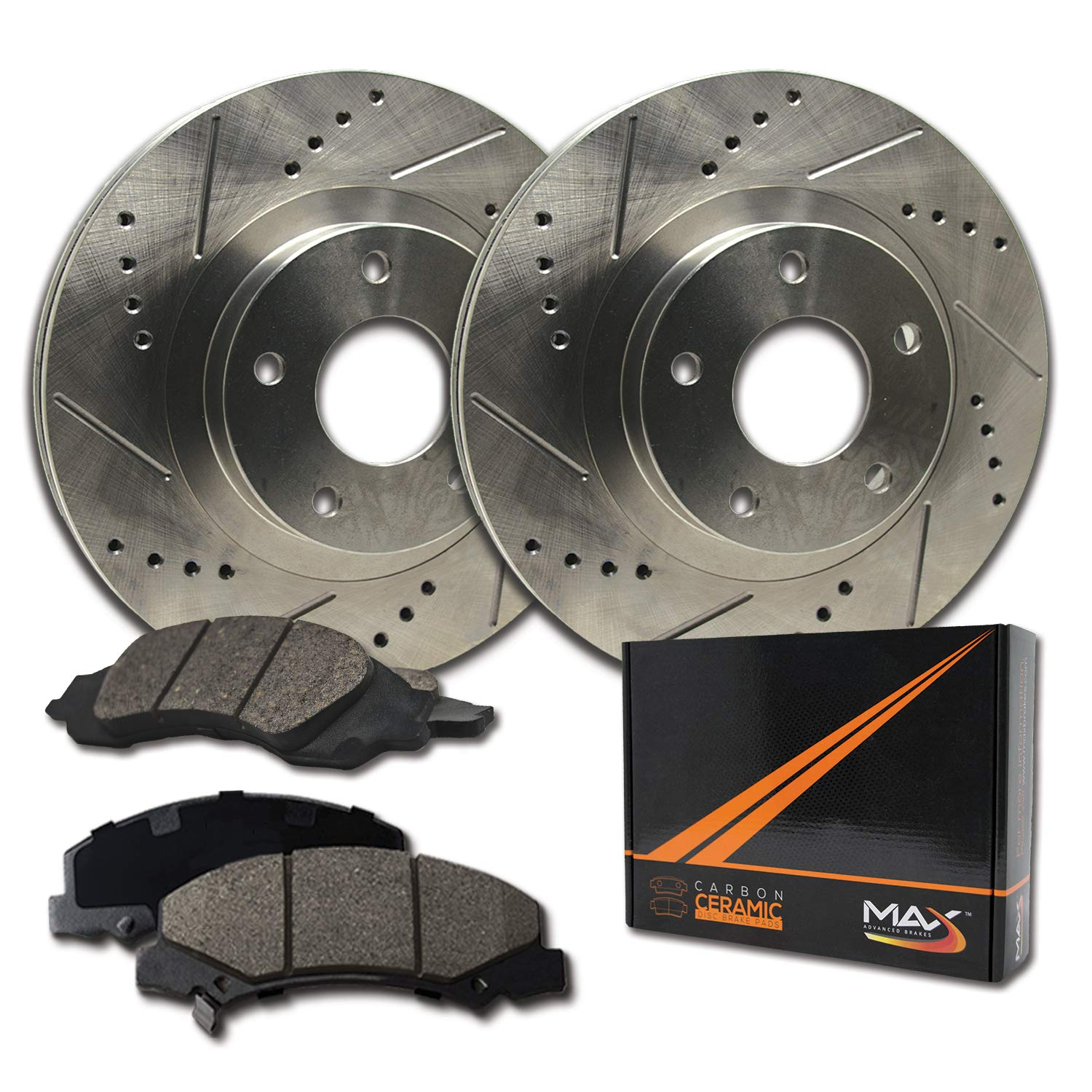 Max Brakes Front Performance Brake Kit [ Premium Slotted Drilled Rotors + Ceramic Pads ] KT025531 Fits: Jeep 1990-1999 Cherokee XJ & Wrangler 1993-1998 Grand Cherokee 1997-1999 TJ by Max Advanced Brakes