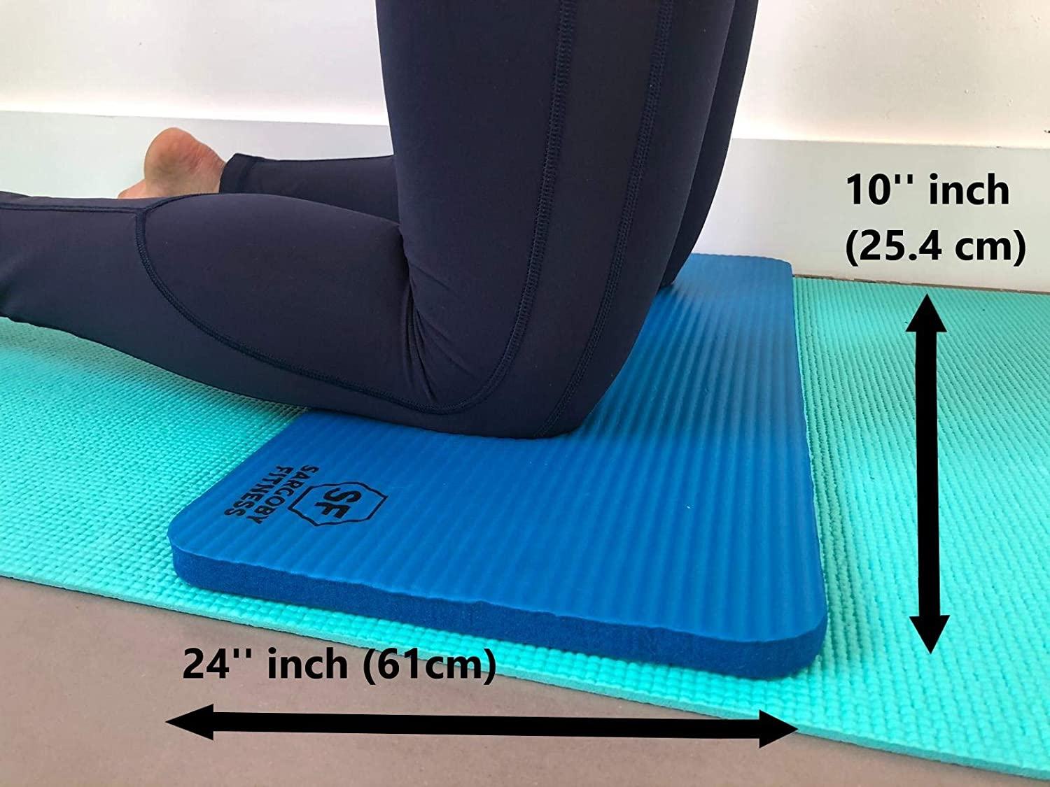 Sargoby Fitness Yoga Knee Pad Cushion 15mm (0.6) Thick | Eliminate Pain & Provide Relief to Knees Elbows Forearms & Wrists | Yoga Knee mat Includes ...