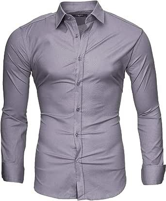 Kayhan Camisas Hombres Camisa Hombre Manga Larga Ropa Camisas de Vestir Slim fácil de Hierro Fit SML XL XXL-6X - Uni