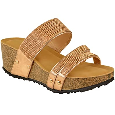 0f529dd080b6 Womens Ladies Low Heel Wedge Diamante Sandals Comfort Holiday Shimmer  Sparkle UK