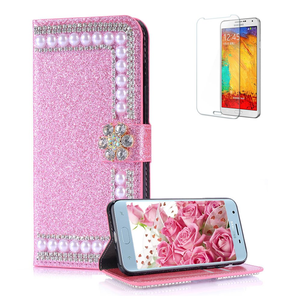 Funyye Pearl Rhinestone Rose Gold Leather Case for Samsung Galaxy J7 2018,Stylish 3D Diamond Buckle Flip Snap Wallet Case with Stand Credit Card Holder Slots for Samsung Galaxy J7 2018,Anti Scratch Full Body Soft Silicone PU Leather Case for Samsung Galaxy