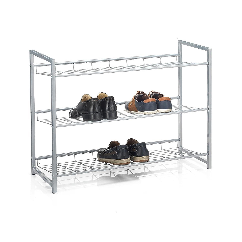 Metall Silber lackiert CARO-M/öbel Schuhregal System Schuhst/änder Schuhablage mit 2 F/ächern f/ür ca 80 cm breit 8 Paar Schuhe