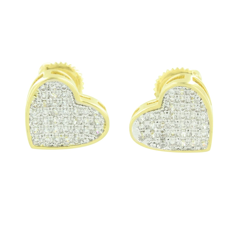 Gold Finish Heart Earrings Screw Back Pave Set Lab Created CZ Stones Elegant