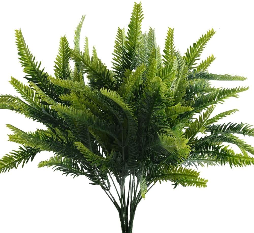Nahuaa 4Pcs Artificial Boston Fern Plants Fake Evergreen Shrubs Faux Plastic ...