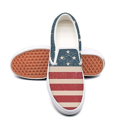 WhiteUnicorn Grunge - Zapatillas Informales de Lona con Bandera Estadounidense para Hombre: Amazon.es: Deportes y aire libre