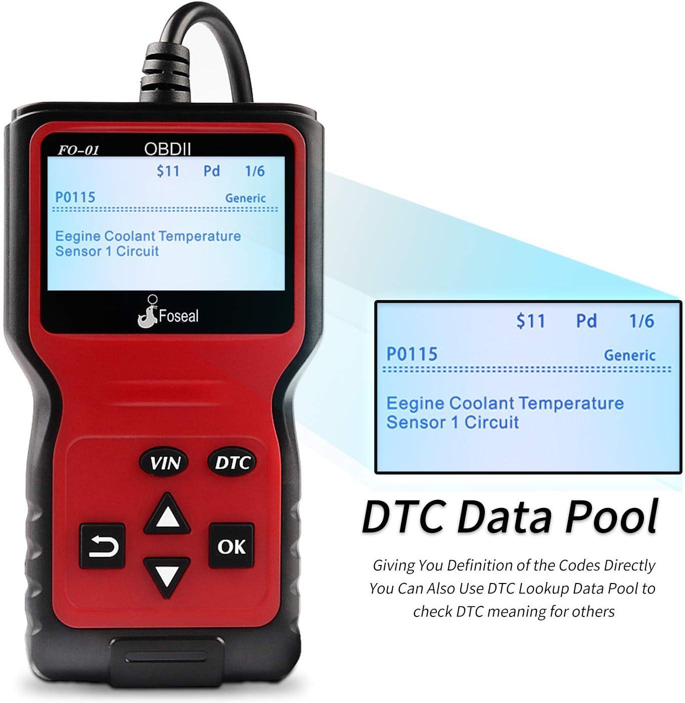 Lettore e Chiari Codici di Errore Adatto con Protocollo OBDII Standard dal 2000 Foseal Diagnostica/Auto/OBD2 Scanner Strumenti Analizzatore DellAutomobile Universale Motore ABS SRS