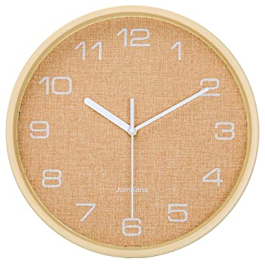 jomparis 12  Battery Operated Silent & Non-Ticking Wall Clock - Wood Grain Frame Design Glass Cover