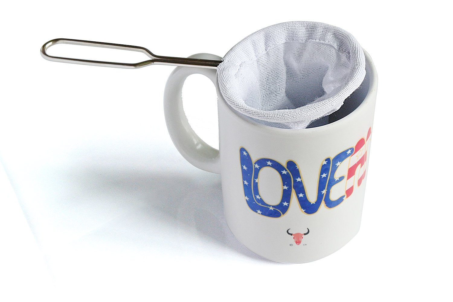 One Cup Reusable Cotton Filter Coffee and Thai Iced Tea Strainer