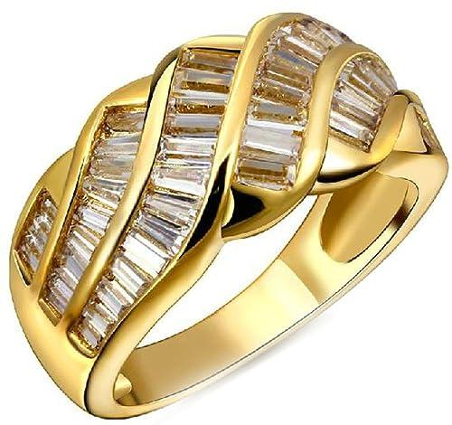 Chapado en oro de anillos MoAndy Mujeres de anillos de boda con circonitas forma de Hipotenusa