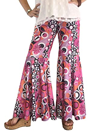 c8d267ff79a Groovy 60 s Hippie Bell Bottom Flared Costume Pants for Women