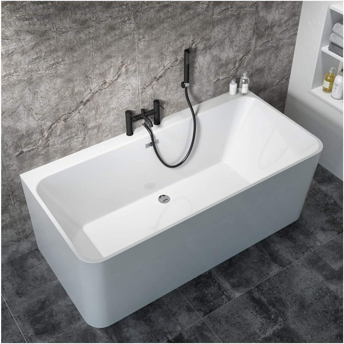 Arissa Round Matt Black Deck Mounted Bath Shower Mixer Tap