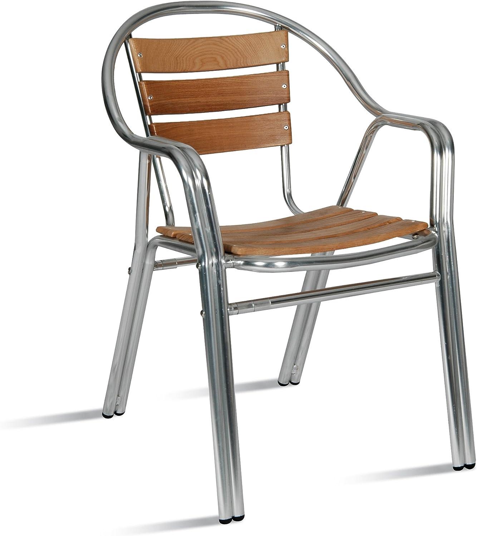 AC014 Silla aluminio y madera apilable con brazos para jardín, terraza, balcón, terrado, exterior, hostelería. 1 unidad