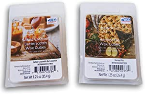 Seasonal Decor Autumn & Winter Scents Wax Cubes 2 Pack Bundle - Harvest Pie and Salted Caramel Butterscotch