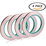 Selizo 4 Pack Copper Foil Tape with Conductive Adhesive for EMI Shielding, Slug Repellent, Paper Circuits, Electrical Repairs, Grounding