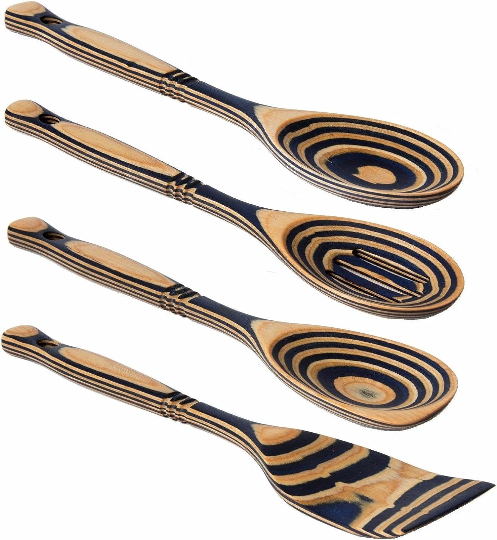 """Island Bamboo 12/"""" Americana Pakkawood Wooden Spoon /& Spatula 4pc Utensil Set"""