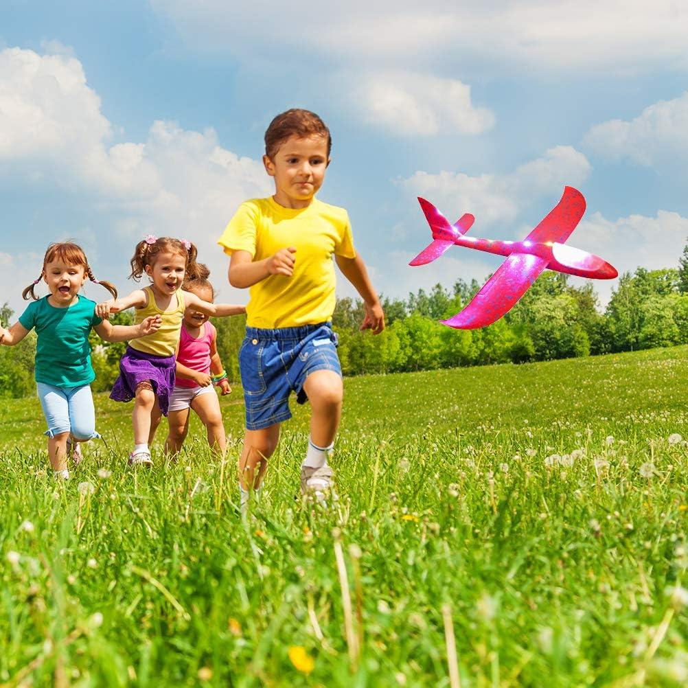 Knowooh Planeur Enfants LED Avion en Polystyrène Avion Jouet Manuel Lancer Planeur pour Enfants Cadeau d\'anniversaire Flying Gliders Modèle (Vert) Rouge