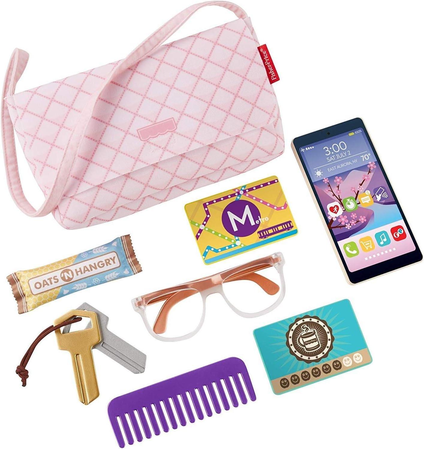 Fisher-Price Strut 'n Style Bag, 8-Piece Pretend Play Set,Multi
