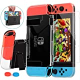 Case Compatible with Nintendo Switch,Dockable witch Screen Protector, HeysTop PC Ultra Slim Protective Cover Case with Temper