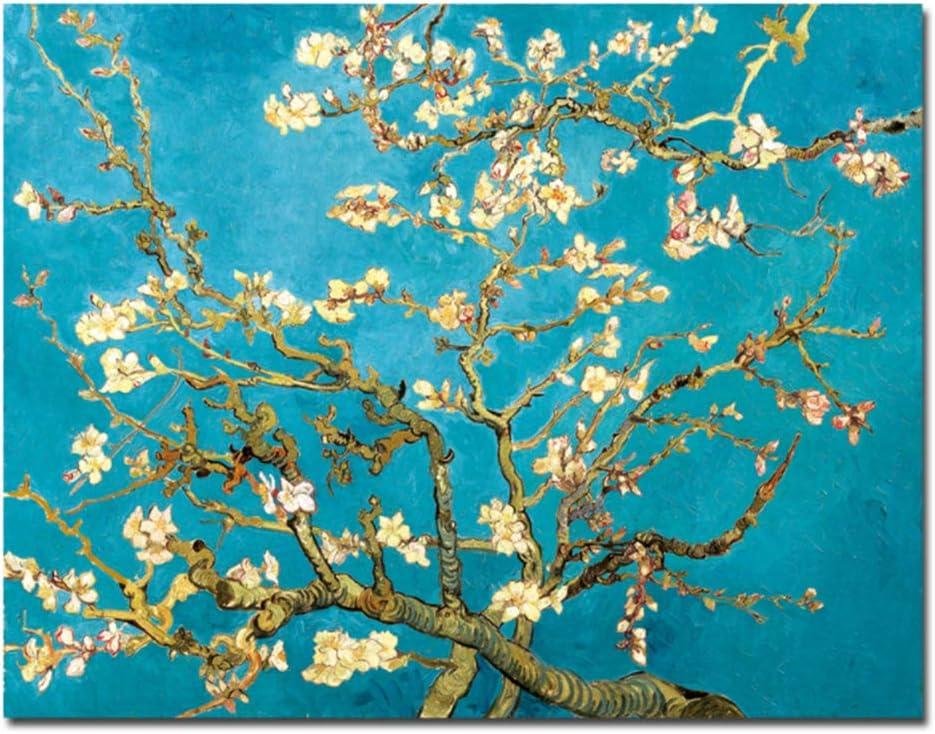 HYFBH Almendro floreciente de Van Gogh Obras de reproducción de Flores Pintura al óleo Impresión de Lienzo Cuadro de Pared para Sala de estar-60x90cm con Marco