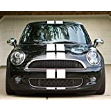 Amazoncom Set Of Racing Wavy Checkered Flag Side Stripes Decal - Bmw mini cooper decals