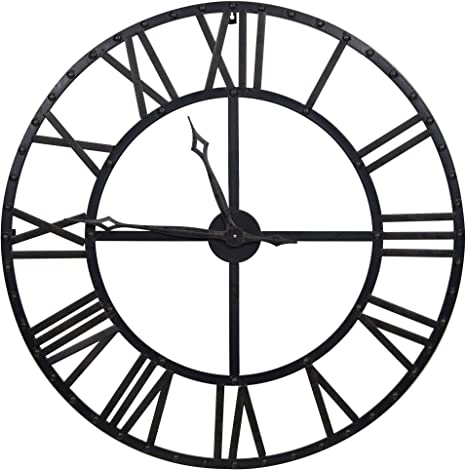 Amazon Com Everly Hart Collection Oversized Black And Bronze Metal Wall Clock Home Kitchen
