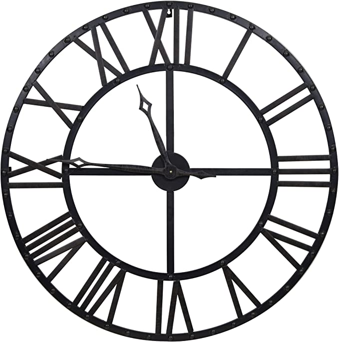 Everly Hart Collection Oversized Black And Bronze Metal Wall Clocks Amazon Ca Home Kitchen