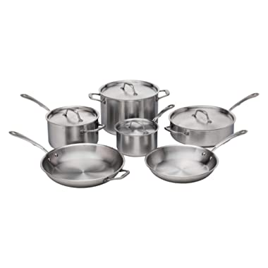 Kitchara Stainless Steel Cookware Set, 10 Piece, Brushed 18/10 Stainless Steel, 5 Ply