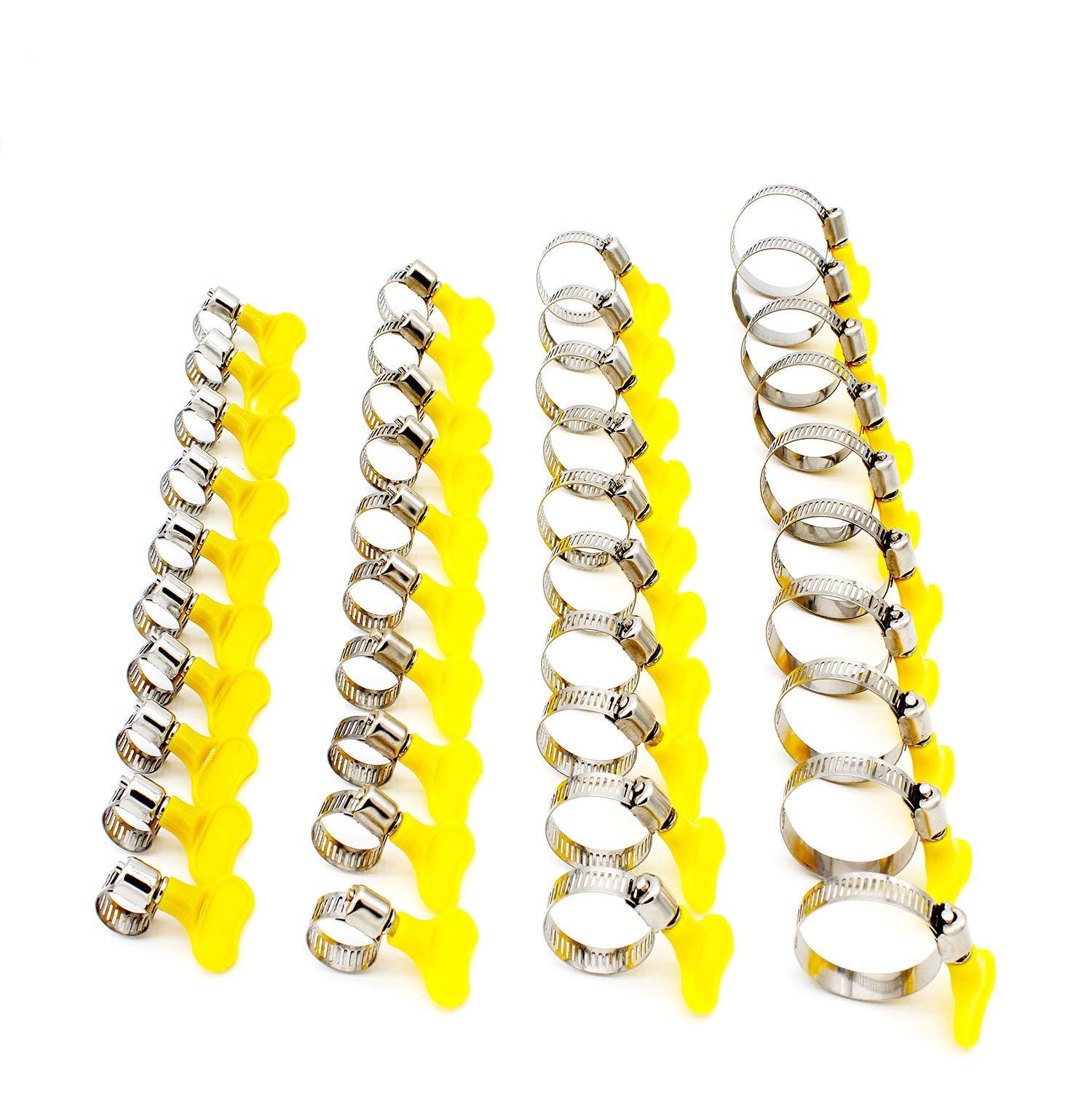TSellk Adjustable Stainless Steel Hose Clamp, Pipe Clamp, Self-Bringing Tools, 1/3'' - 1 1/2'', 40 Piece