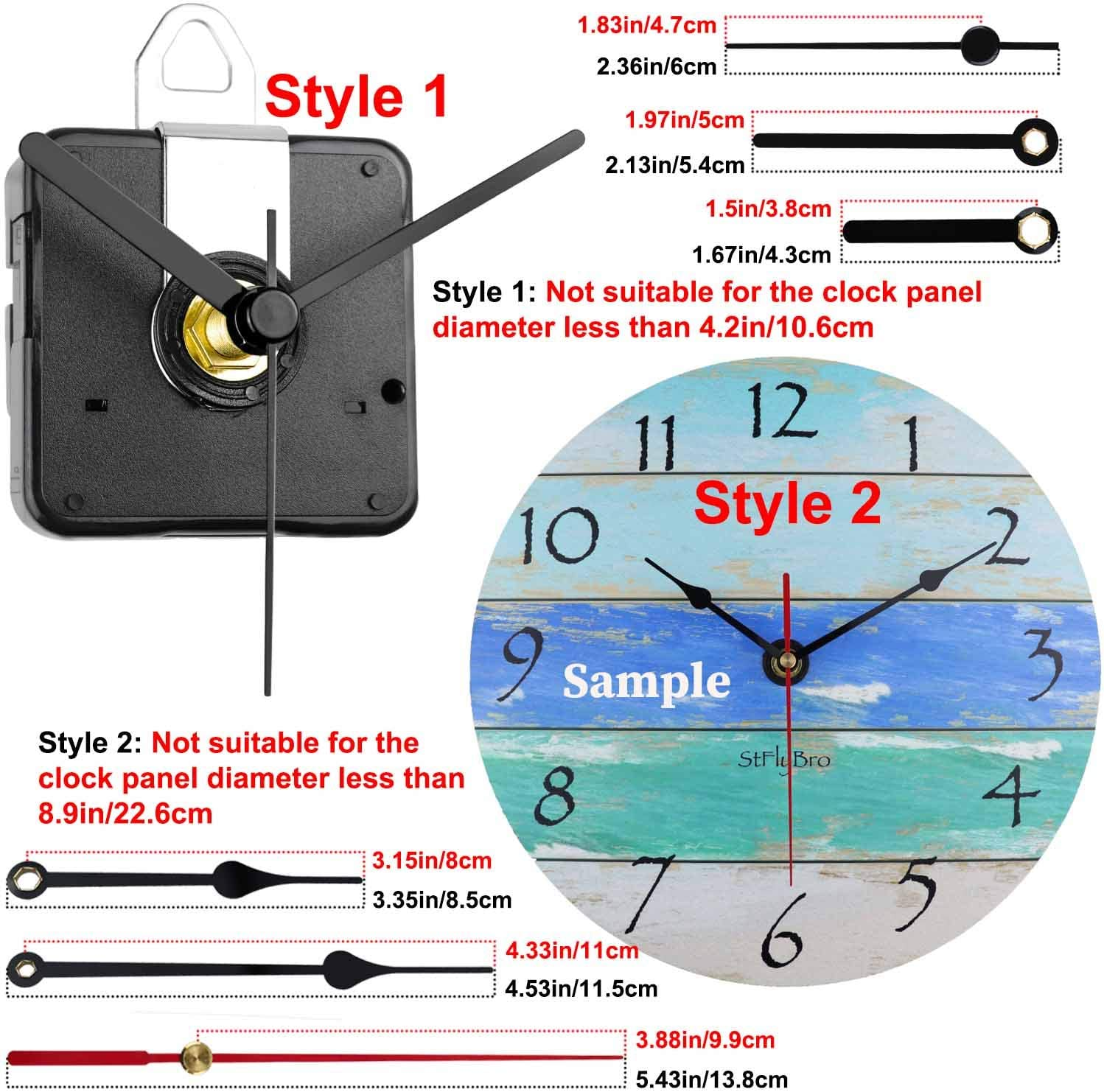 StFlyBro 2 Pack Non Ticking Wall Clock Movements with Colorful Clock Hands DIY Repair Parts Replacement Battery Operated
