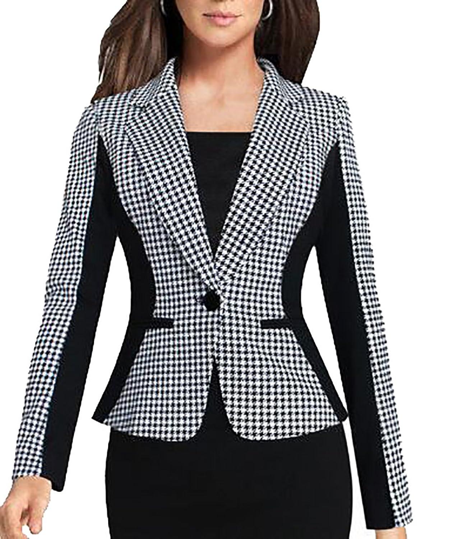 72f471f726c4 FLCH+YIGE Women s Elegant Work Office Long Sleeve One Button Blazer Jacket  85%OFF