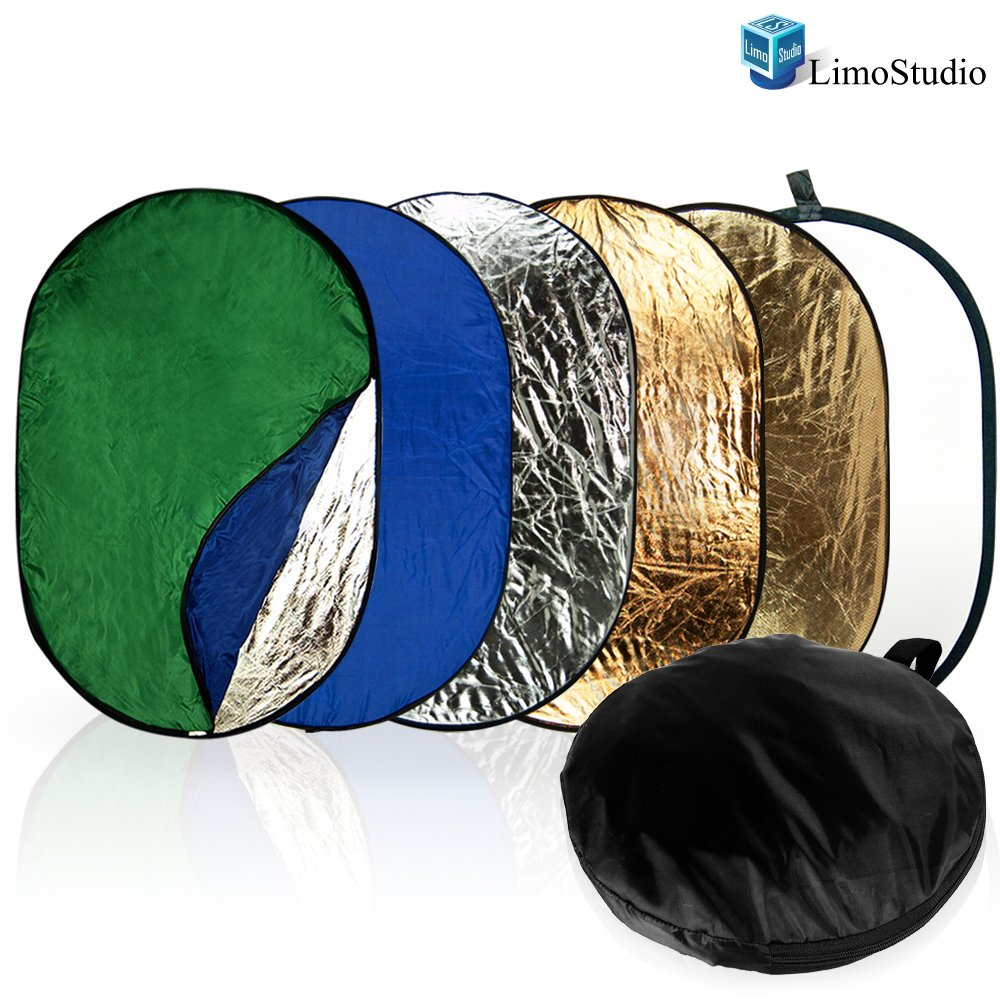 Limo Studio 7-in-1 24 x 36 h Photo Lighting Reflector, Collapsible Disc Reflector, Video Lighting Modifier Studio Photography Reflector Disc Panel, AGG1254