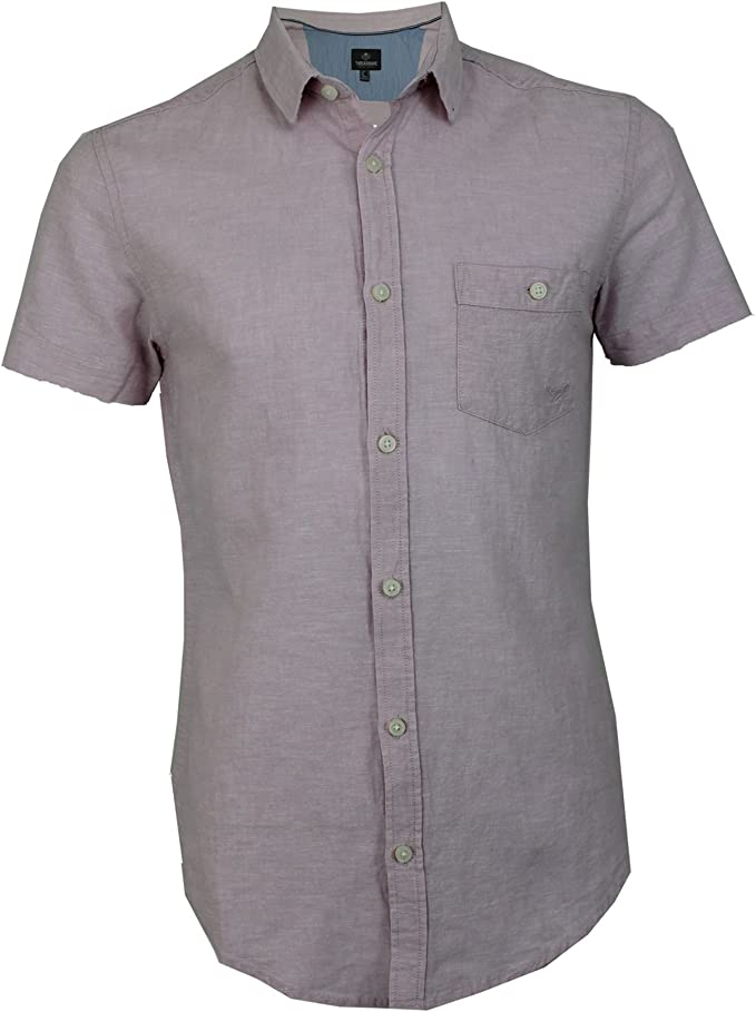 Mens Threadbare Linen Cotton Mix Plain Button Casual Summer Short Sleeve Shirt