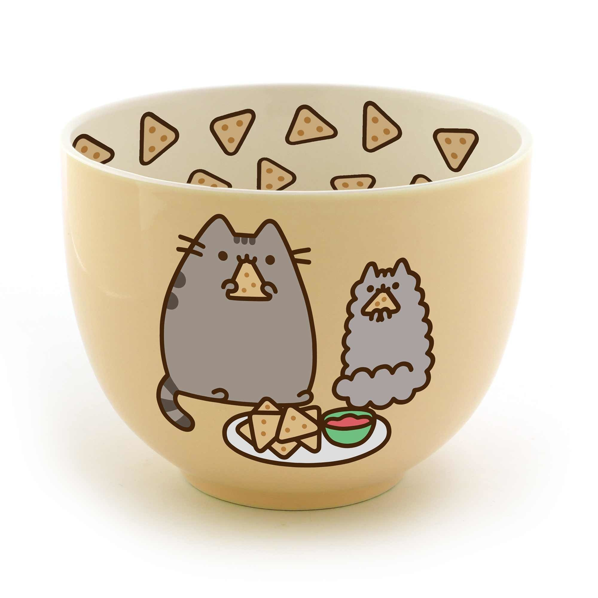 Enesco Pusheen by Our Name is Mud Stoneware Chips Snack Bowl, Yellow, 4''
